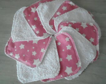 set of 10 wipes toweling cotton and white rose White Star