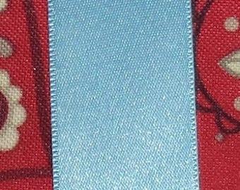sky blue satin ribbon double sided new width 2.5 cm