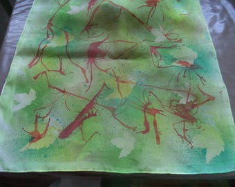 180 cm x 45 cm of superb quality green hand-painted silk scarf