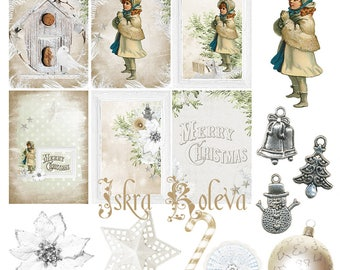 Christmas digital element, vintage elements, tags, christmas ball