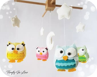 READY TO SHIP Baby Mobile - Baby Crib Mobile - Nursery Mobile Clouds – Owl Baby Mobile – Stars Mobile – Hanging mobile – Owl Cot