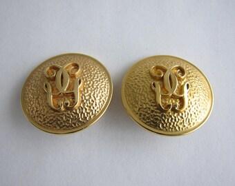 Guerlain goldtone clip earrings