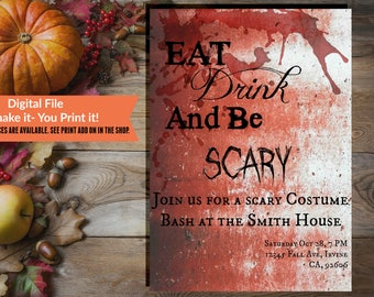 Be Scary Bloody Halloween Costume Party Invitation