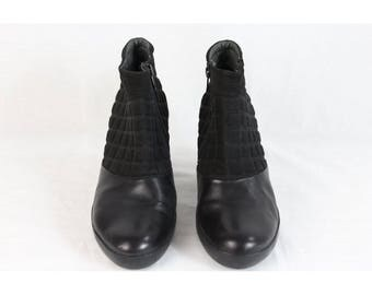 Camper black leather canvas shoes ankle boots women's size 40 zip made italy