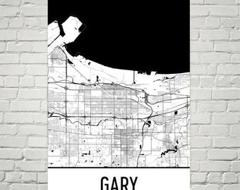 Gary Map, Gary Art, Gary Print, Gary IN Poster, Gary Wall Art, Gary Gifts, Map of Indiana, Indiana Poster, Indiana Decor, Indiana Map Print