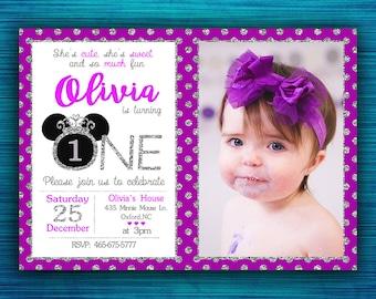 Minnie Mouse invitation-Silver and Purple Minnie Mouse Birthday Invitation-Party invitation-1st Birthday-2nd Birthday-Silver Glitter