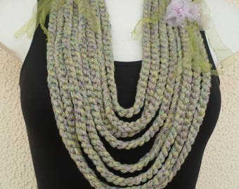 Textile necklace purple and lime green