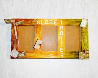 "Photo frame trio ""Globetrotter"", photo 10 cm X 15 cm, made by hand"