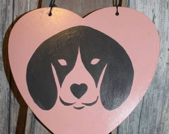 Large wall, door decoration, wooden pink heart