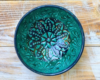 Bowl, green bowl, small bowl, decorative bowl, handmade pottery, ceramics, green plate, handmade bowl, handmade saucer, handmade ceramics