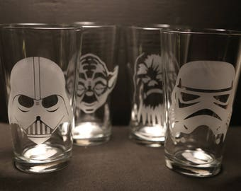 Star Wars Etched Pint Glass Set, Darth Vader, Yoda, Stormtrooper, Chewbacca, Unique Gift, Glassware, Personalized Gift, Pint Glass,