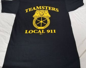 Teamsters Official Union Tee Shirt Size Small Crisp Sharp Black Cotton Yellow Classic Logo Graphics