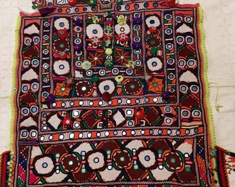 Embroidery Aprin fabric, Banjara Top Fabric, front side hand embroidered Fabric for Top, Boho embroidered fabric dress, Indian Tribal fabric