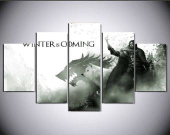 5 Panels Game of Thrones Jon Snow Ghost Winter is Coming Canvas Art Multi Grouped Art Work asoiaf GOT