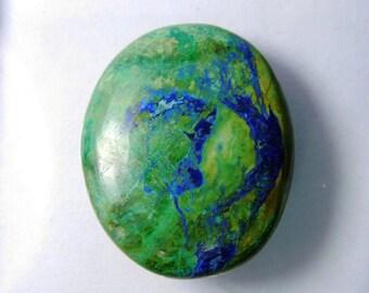 AAA+ Natural Azurite Malachite cabochon, Azurite Malachite gemstone, Malachite Azurite loose gemstone. Malachite Azurite 40 Cts. #3345N