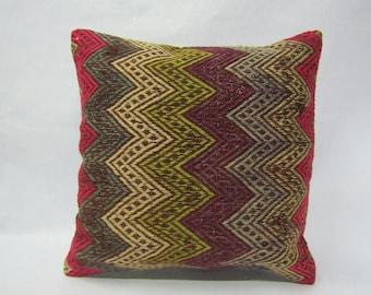 Turkish Kilim Pillow Cover,16x16 inches,40x40cm,Anatolian Handmade Kilim Pillow Cover