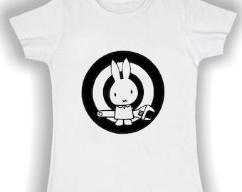 Women's Basic t shirt action bunny