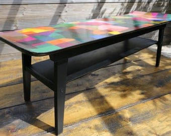 Upcycled mid-century Myer Sleigh-style coffee table with decoupaged top & splayed legs