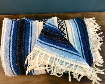 Vintage Blues Mexican Blanket with Fringe - Throw Blanket - Yoga