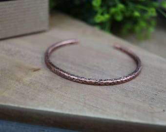 Minimal Hammered Copper Cuff Bracelet