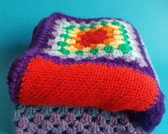 Incredible Rainbow Crochet Blanket - Retro and Vibrant - Knitted