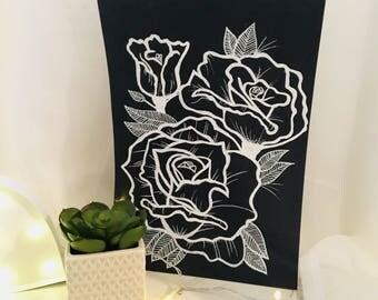 Hand drawn Art Rose Black & White illustration