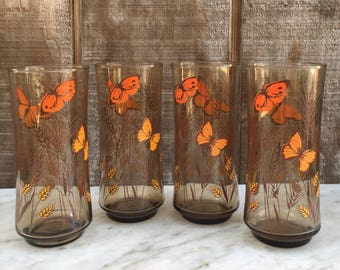 4 Libbey Butterfly Glasses // Orange and Brown Butterfly Water Glasses // 1970's
