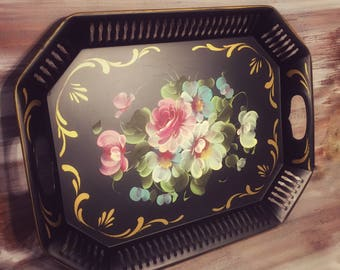 Vintage Black Floral Toleware Metal Tray, Tole, French, Shabby
