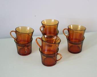 Set of 8 Glass Duralex Coffee/Tea Cups