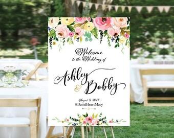 Bohemian Wedding Sign, Wedding Welcome Sign, Printable Wedding Sign, Welcome Wedding Sign, Floral Wedding Sign, wedding sign - US_WS1205