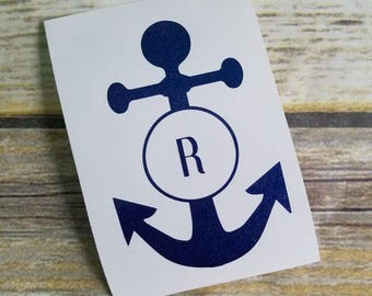 Monogram Initial Anchor Decal, Personalized Anchor Sticker, Anchor with Letter Decal with Initial/Symbol, Nautical Decal, Anchor Vinyl Decal