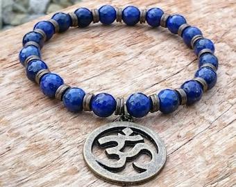 Handmade Lapis Lazuli Beaded Om Aum Spiritual Bracelet with Gift Pouch, Gemstone Bracelet, Om Bracelet, Yoga Bracelet, Gift