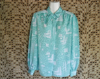 Vintage Colorful Green White Blouse,Delmod International Long Sleeves Buttons Front Blouse,Abstract Print Women Vintage Blouse Shirt Size 40