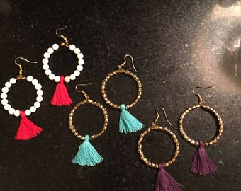 Fringe Tassel Hoop Earrings (Large)