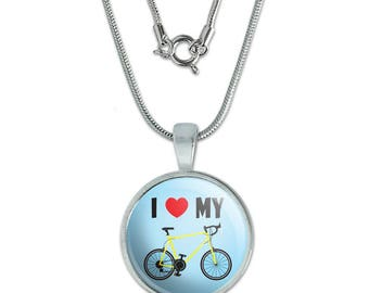 """I Love My Bike Road Bicycle Cycling 0.75"""" Pendant with Sterling Silver Plated Chain"""