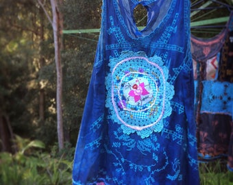 Boho Reclaimed Upcycled Recycled Tank Top Vintage Linen Lace Embellished