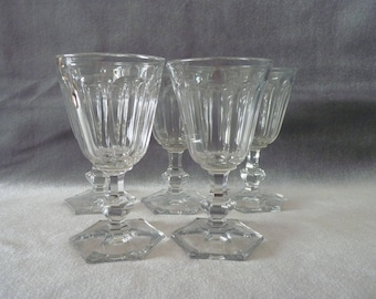 Baccarat or Val Saint Lambert (?) set of 5 vintage glasses Crystal circa 1920