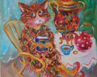 Original oil painting/cat with book and Russian Samovar/funny cat portrait