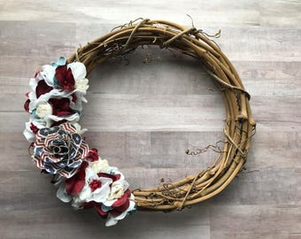 Patriotic Wreath, 4th of July Wreath, Red White and Blue, Red Wreath, White Wreath, Flower Wreath, Paper Flower, Gallery Wall, Door Wreath