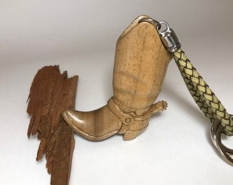 "Hand Carved Wooden Pendant, Key Chain ""Boot with a Spur"""