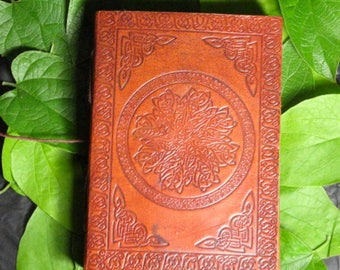Blank Celtic Knot Mandala Leather Bound Grimoire, Wicca Book of Shadows, or Journal