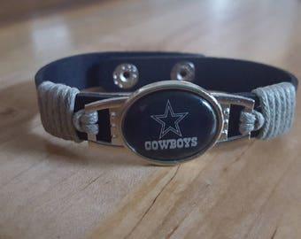 Dallas Cowboy Bracelet leather cuff cowboys NFL football