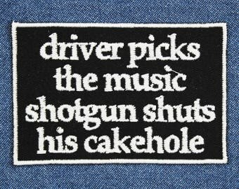 "Driver Picks the Music Patch – 3.5"" x 2.5"" Patches for Jackets – Patches for Jeans – Backpack Patches – Gifts for Geeks – Gifts Under 10"