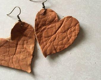 Heart leather earrings