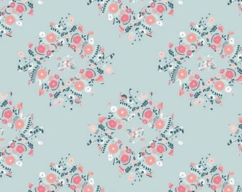 Art Gallery Blithe - Modern Floral Cotton Fabric, Joy Wreaths Ice, Quilting Weight- Joy Wreaths Ice-Fabric by the Yard-Flower,Shabby Chic