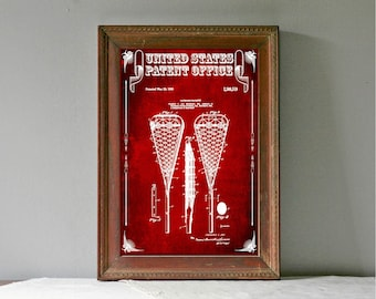 Lacrosse Racquet Patent – Patent Print, Wall Decor, Lacrosse Art, Lacrosse Gift, Lacrosse Mom, Lacrosse Stick, Sports Art