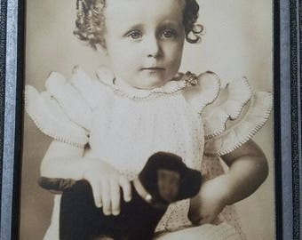 Vintage Black and White Photograph Child Girl with Stuffed Animal