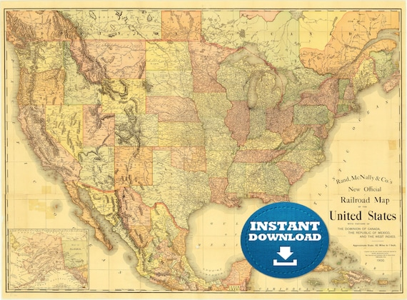 United States digital railroad old map 1900Instant download