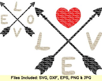 Arrow svg love arrow heart svg valentines day svg marriage wedding svg mr and mrs svg letter svg files for cricut Silhouette dxf cut file