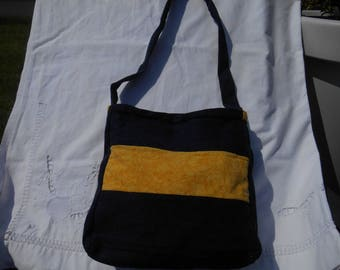 yellow and dark denim shoulder bag